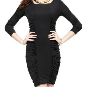 BCBG Maxazria Janeeva Black Sheath dress Ruched M